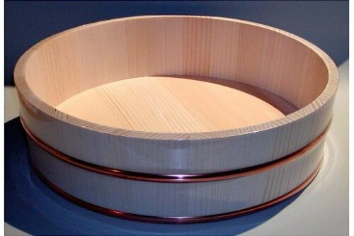 Hangiri einfach Matsu/Kiefernholz mit Kupferreifen 52 cm 5