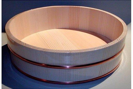 Hangiri 39 cm einfach Matsu/Kiefer mit Kupferreifen 1