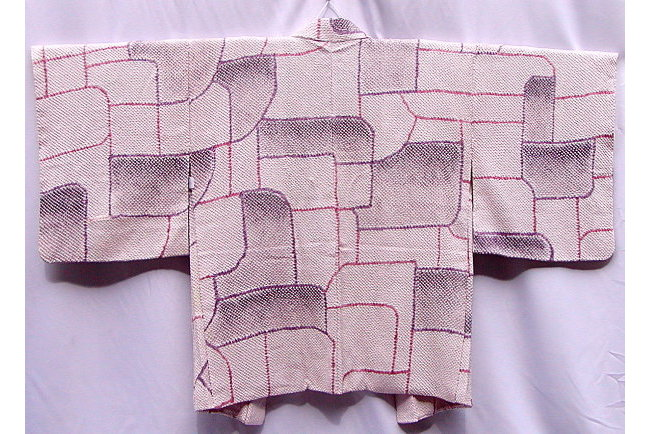 Antik Seiden-Haori Purple Geometric 1