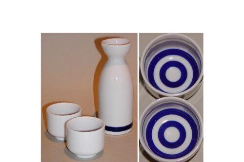 Keramik Sake-Test-Set weiß-blau 4 tlg. 38