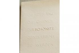 Geschenk-Gutschein Prägekarte Aufhören/Anfangen 7
