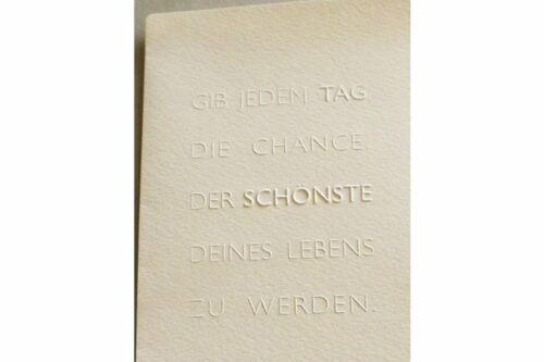 Geschenk-Gutschein Prägekarte Der schönste Tag 3