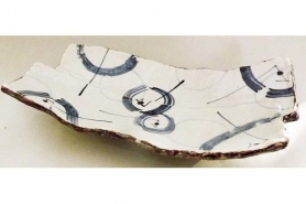 Keramik Platte/Teller Awase blau-weiß 8
