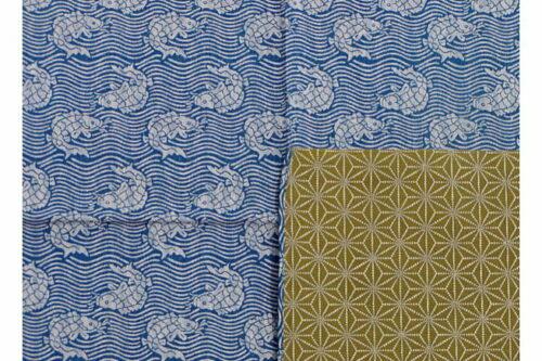 Furoshiki Fish/Asanoha blue/green 100cm 14