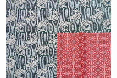 Furoshiki Fish/Asanoha grey/red100cm 5