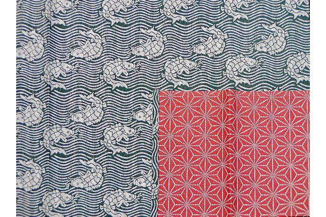 Furoshiki Fish/Asanoha grey/red100cm 1