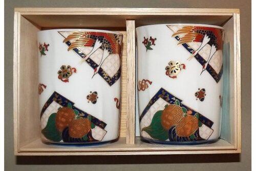 Keramikbecher-Set Tsurukame 2 Stück im Holzkasten 11
