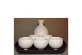 Sake-Servier-Set Chikyu Shiro für 2 Personen 9