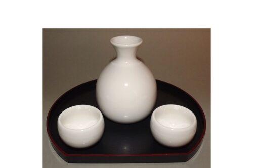 Sake-Servier-Set Chikyu Shiro für 2 Personen 4