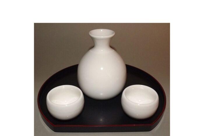 Sake-Servier-Set Chikyu Shiro für 2 Personen 1