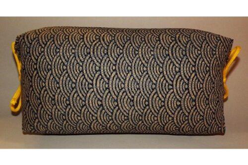 Makura Traditionelles Kopfkissen 32 cm Seikeiha dunkelblau-beige 11