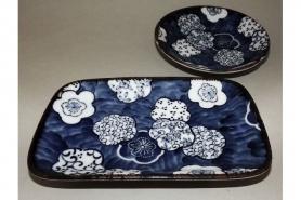 Teller-Set Ume Kamon Sushi-/Platte und Dip-/Tellerchen 7