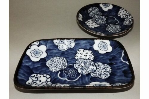 Teller-Set Ume Kamon   Sushi-/Platte und Dip-/Tellerchen 13