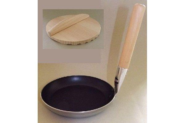 Donburi Pan 17 cm Antihaft MIT Holzdeckel 16 cm - für Gas, Elektro + Induktion 1