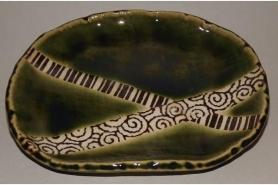 Keramik Platte-Teller Oribe Uchiwa 10
