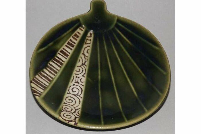 Keramik Platte-Teller Oribe Uchiwa 1