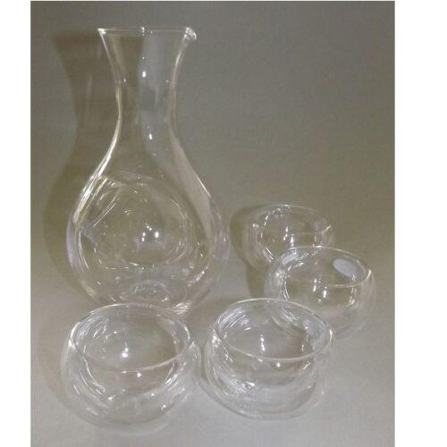 Sake-Set 5 tlg. Glas-Tokkuri mit Eisfach + 4 Doppelwand Guinomi 48