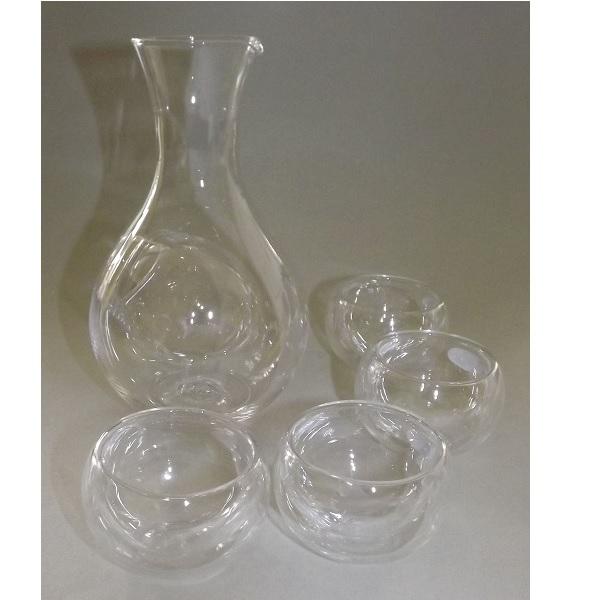Sake-Set 5 tlg. Glas-Tokkuri mit Eisfach + 4 Doppelwand Guinomi 1