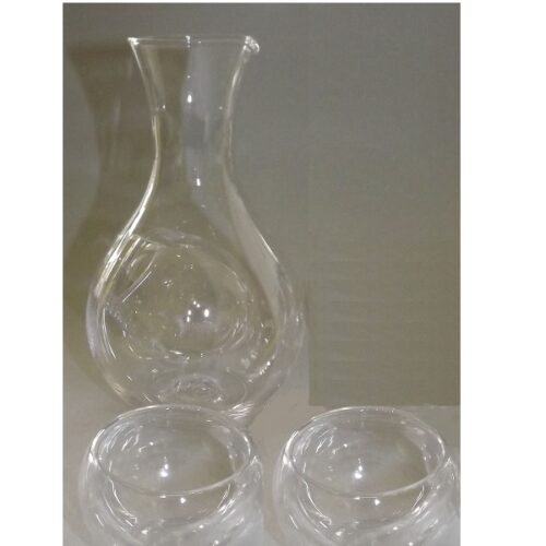 Sake-Set 3 tlg. Glas-Tokkuri mit Eisfach + 2 Doppelwand Guinomi 2