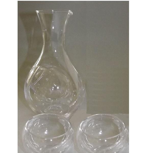 Sake-Set 3 tlg. Glas-Tokkuri mit Eisfach + 2 Doppelwand Guinomi 1