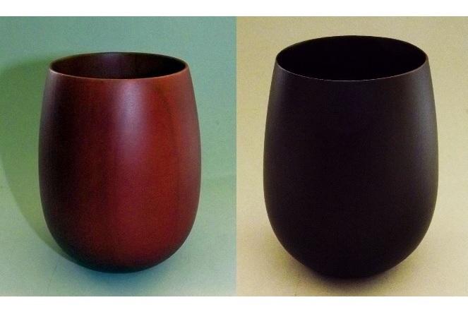 Unikat-Becher Holz 1 Paar Aka + Kuro 1