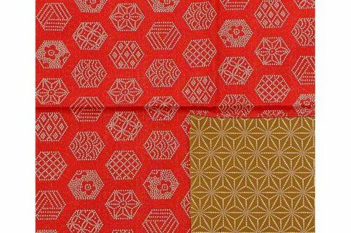 Furoshiki Roku-Asanoha red-green 100cm 1
