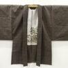 Kimono Set mit Haori Shiborikaro - Seide antik braun 11