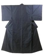 Kimono Set mit Haori Oshima Tsumugi - Seide antik nachtblau 18