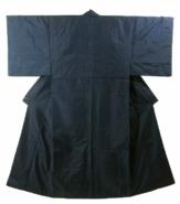 Kimono Set mit Haori Oshima Seide antik nachtblau 15