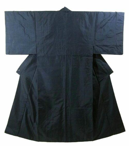 Kimono Set mit Haori Oshima Seide antik nachtblau 12