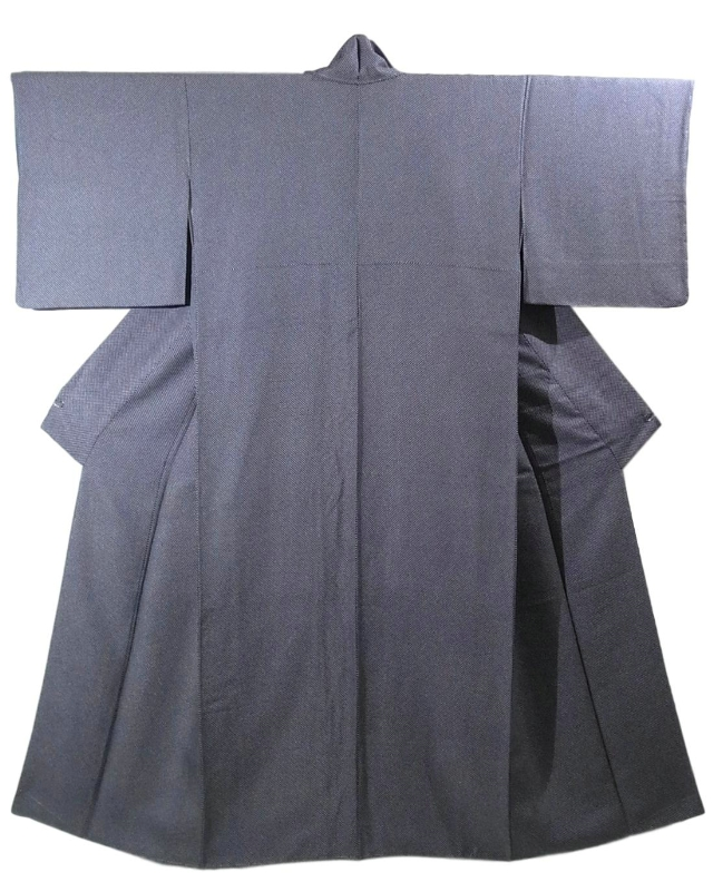 Kimono Kanoko Shibori - Chirimen-Seide antik schwarz 1