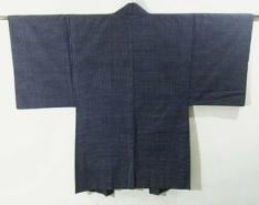 Kimono Kanoko Shibori - Chirimen-Seide antik schwarz 10