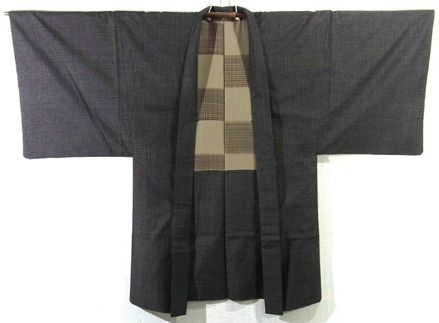 Kimono Set mit Haori Chic Tsumugi - Seide antik dunkelbraun 6