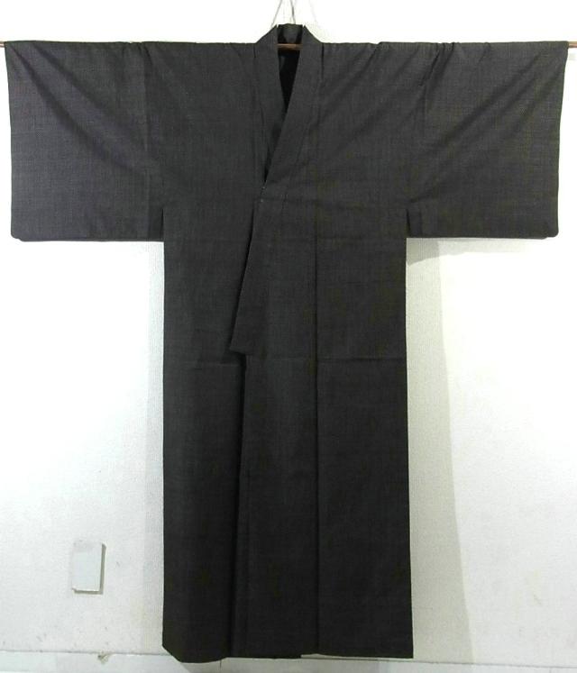 Kimono Set mit Haori Chic Tsumugi - Seide antik dunkelbraun 1