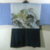 Kimono Set mit Haori Oshima Seide antik nachtblau 6
