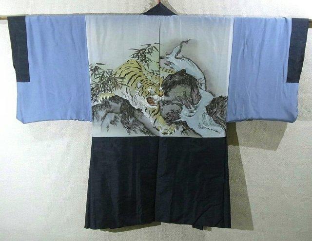 Kimono Set mit Haori Oshima Seide antik nachtblau 5