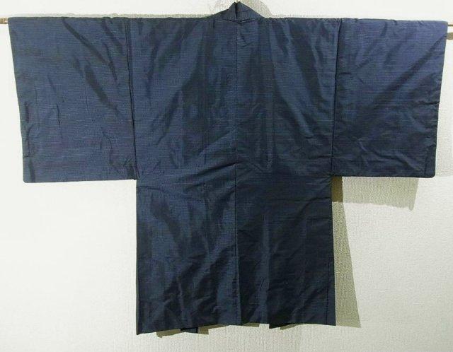 Kimono Set mit Haori Oshima Seide antik nachtblau 2