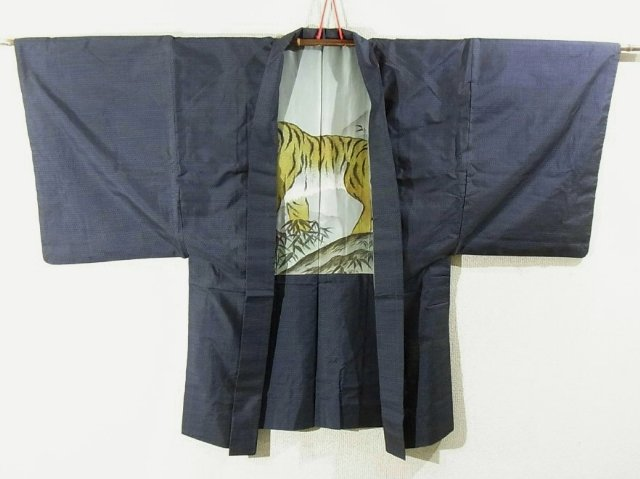 Kimono Set mit Haori Oshima Tsumugi - Seide antik nachtblau 2