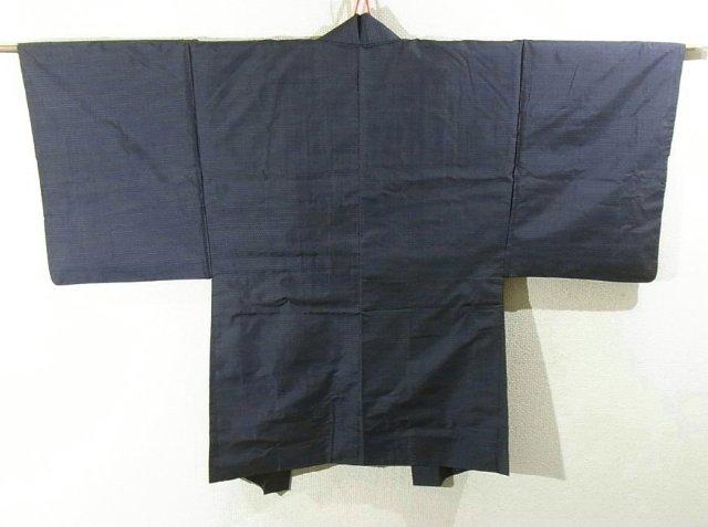 Kimono Set mit Haori Oshima Tsumugi - Seide antik nachtblau 1