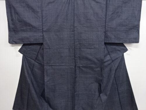 Kimono Set mit Haori Handgewebt - Seide antik anthrazit - Kreuzkaro 14