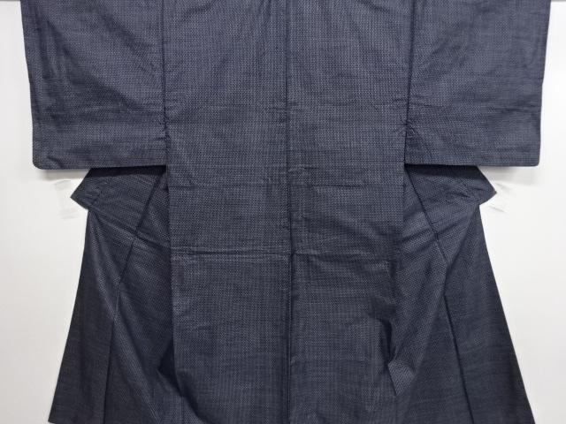 Kimono Set mit Haori Handgewebt - Seide antik anthrazit - Kreuzkaro 1