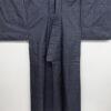 Kimono Set mit Haori Handgewebt - Seide antik anthrazit - Kreuzkaro 11