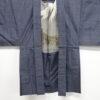 Kimono Set mit Haori Handgewebt - Seide antik anthrazit - Kreuzkaro 12