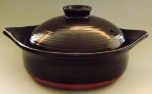 Donabe Topf schwarz 2 Liter - auch für Induktion 12
