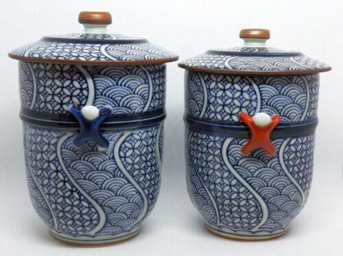 Kiyomizu Cups mit Deckel 1 Paar Arita 11