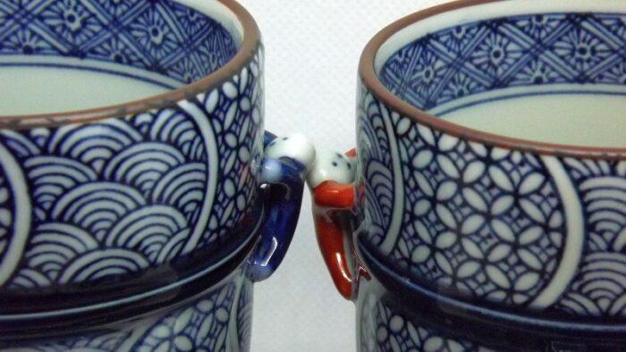 Kiyomizu Cups mit Deckel 1 Paar Arita 2