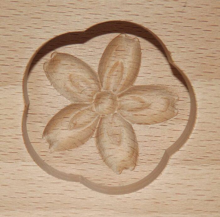 Wagashi Mold - 3 runde Blüten - Former für japanische Süßigkeiten (Asien) 3