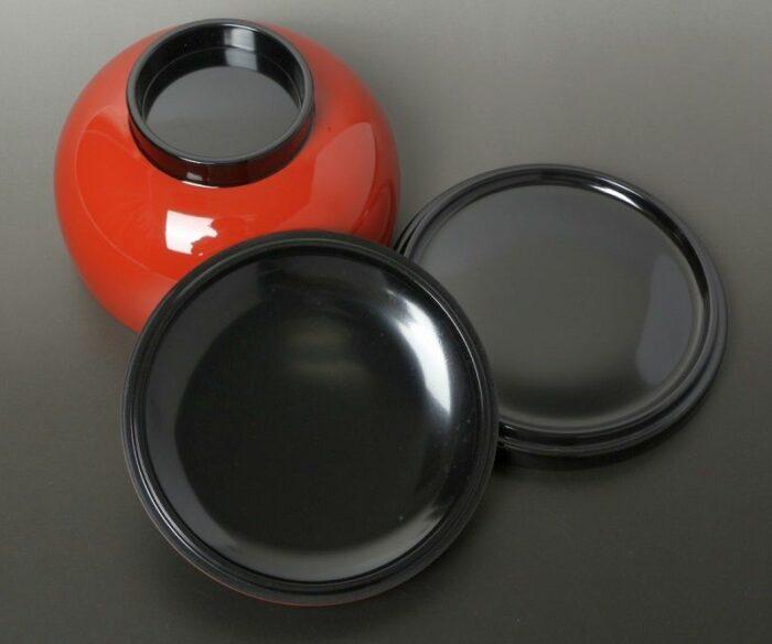 Lack Deckel-Bowl Sanbu aka - 3 teilig 2