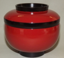Lack Deckel-Bowl Sanbu aka - 3 teilig 12