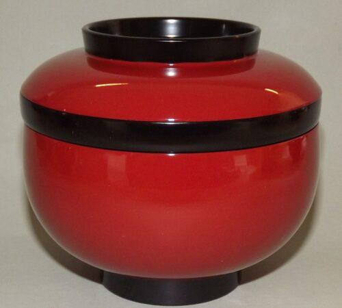 Lack Deckel-Bowl Sanbu aka - 3 teilig 5